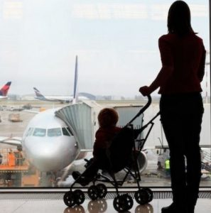 stroller on airplane