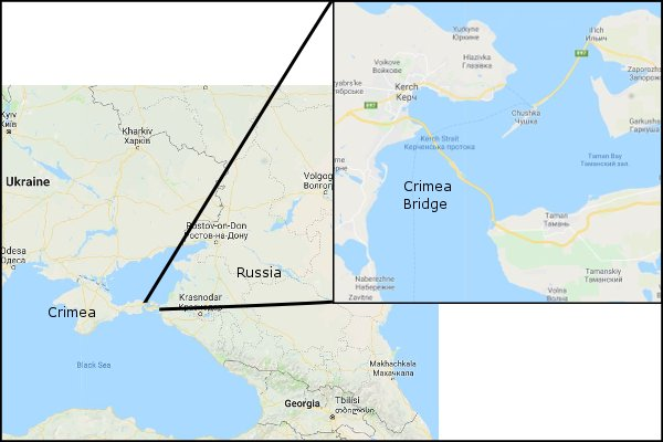 Crimea road Bridge Map
